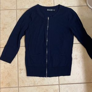 Navy blue zip front cardigan